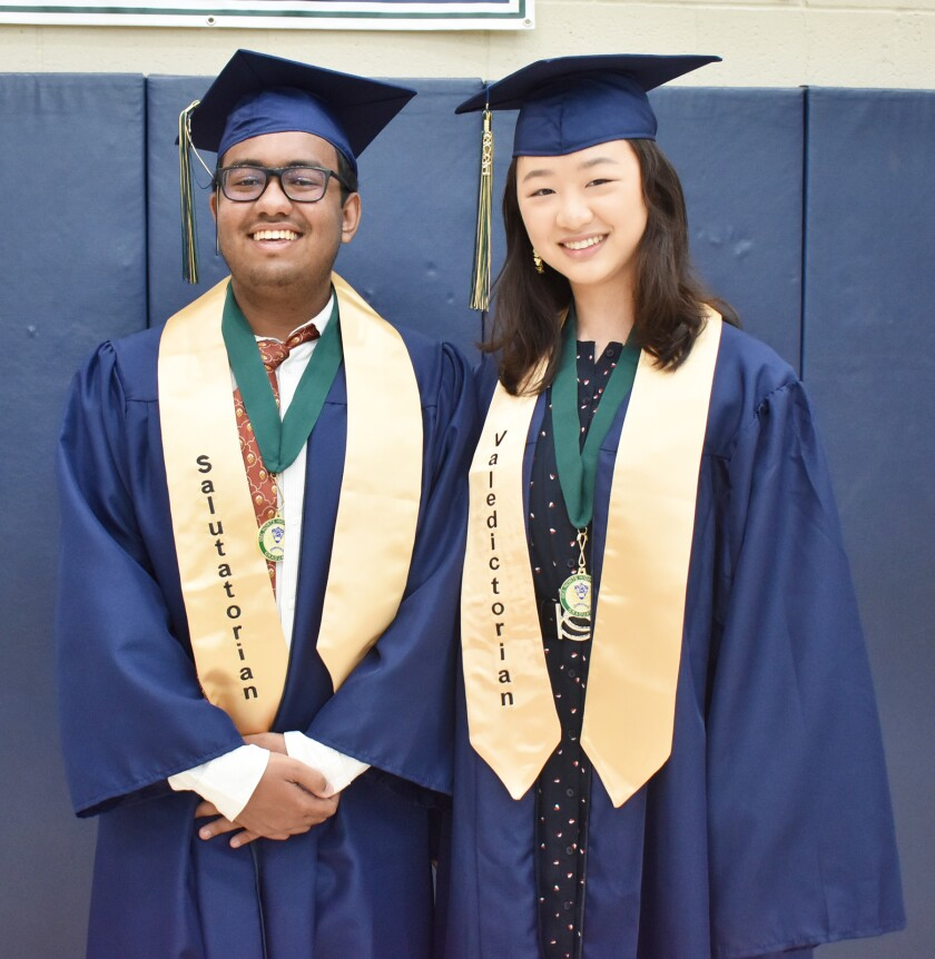 Del Norte High Class of 2021 Salutatorian Zahir Ahmed and Valedictorian Cynthia Zhang.