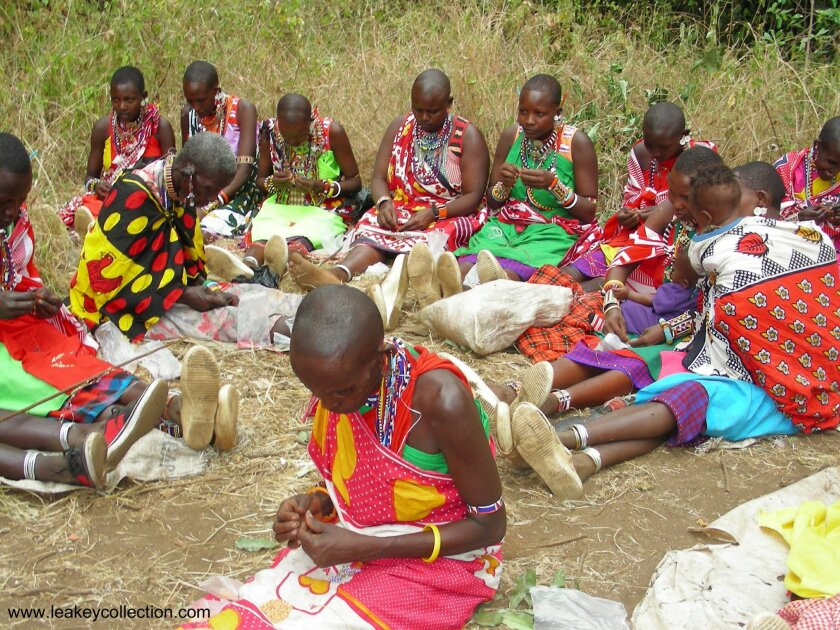 Maasai women work on beading and sewing projects for the Leakey Collection.