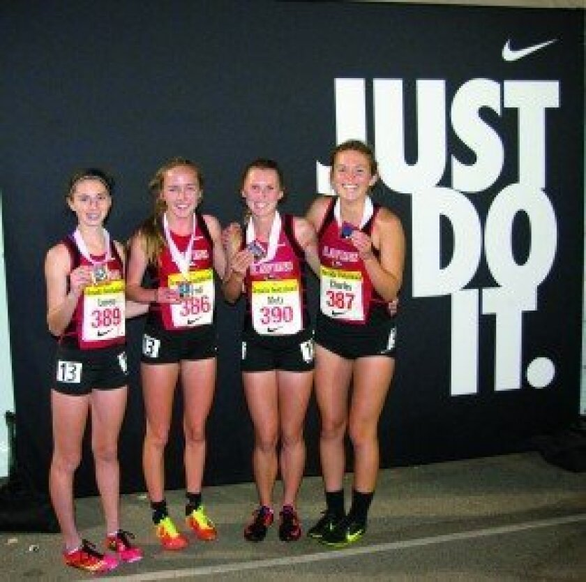 The CCA girls distance medley relay team finished third at the highly competitive Arcadia Invitational track and field meet. The athletes, from left to right, are: Kira Loren, Kelly Bernd, Kragen Metz and Anne Charles. Courtesy photo
