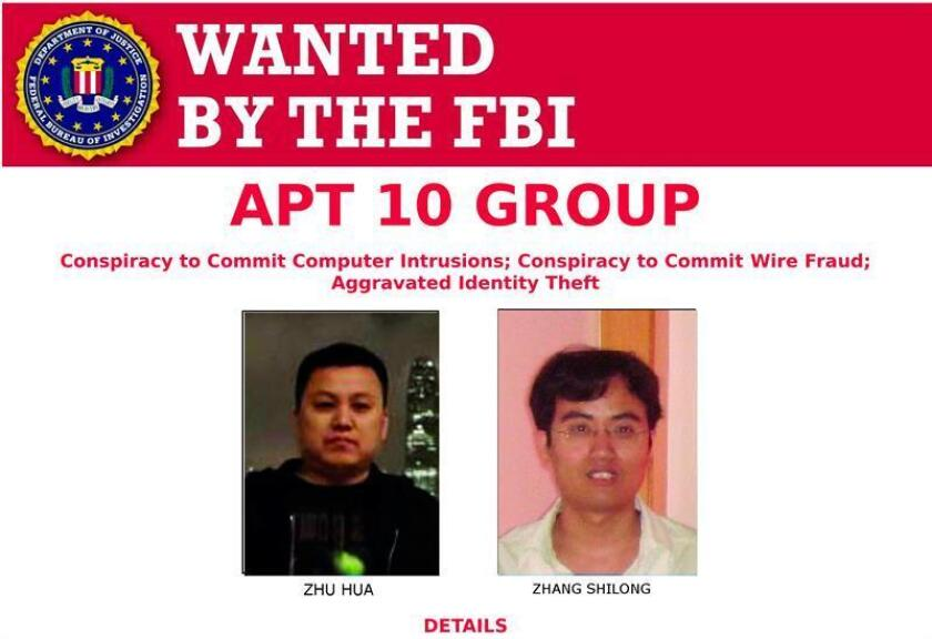 A handout image released by the FBI on 20 December 2018 shows the two Chinese hackers Zhu Hua (L) and Zhang Shilong. Officials announced charges against two suspected computer hackers from China, in association with the Chinese Ministry of State Security's Tianjin State Security Bureau. EPA-EFE/FBI HANDOUT EDITORIAL USE ONLY