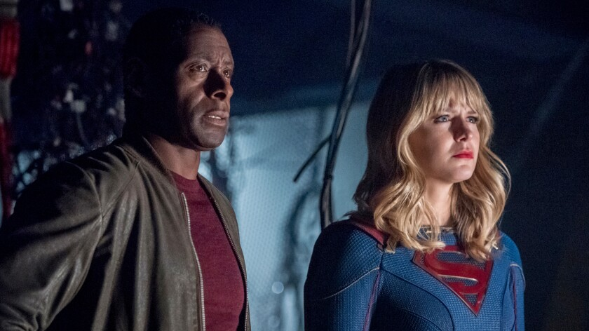 """David Harewood and Melissa Benoist in """"Arrow: Crisis on Infinite Earths"""" on The CW."""