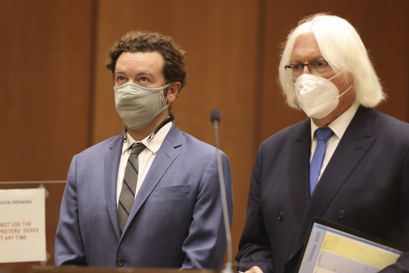 Actor Danny Masterson stands with his attorney, Thomas Mesereau
