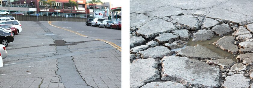 A section of damaged concrete street on lower Girard Avenue (left) and on Coast Boulevard adjacent Scripps Park.  Photos by Pat Sherman