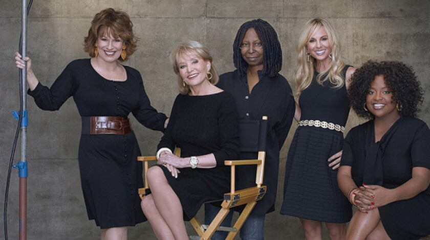 "WORK: Barbara Walters, 79, enjoys ""View"" schedule. ""The View"" co-hosts, from left, Joy Behar, Walters, Whoopi Goldberg, Elisaebeth Hasselbeck and Sherri Shepherd."