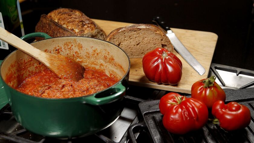 LOS ANGELES, CA., JUNE 21, 2017-- A recipe Pappa al Pomodoro (a thick Italian tomato sauce) for Evan