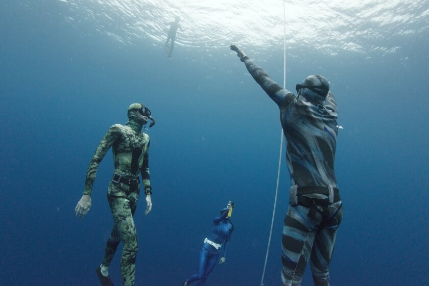 Lance Lee Davis ascends from a 72 meter (236 feet) dive in Kona, Hawaii.