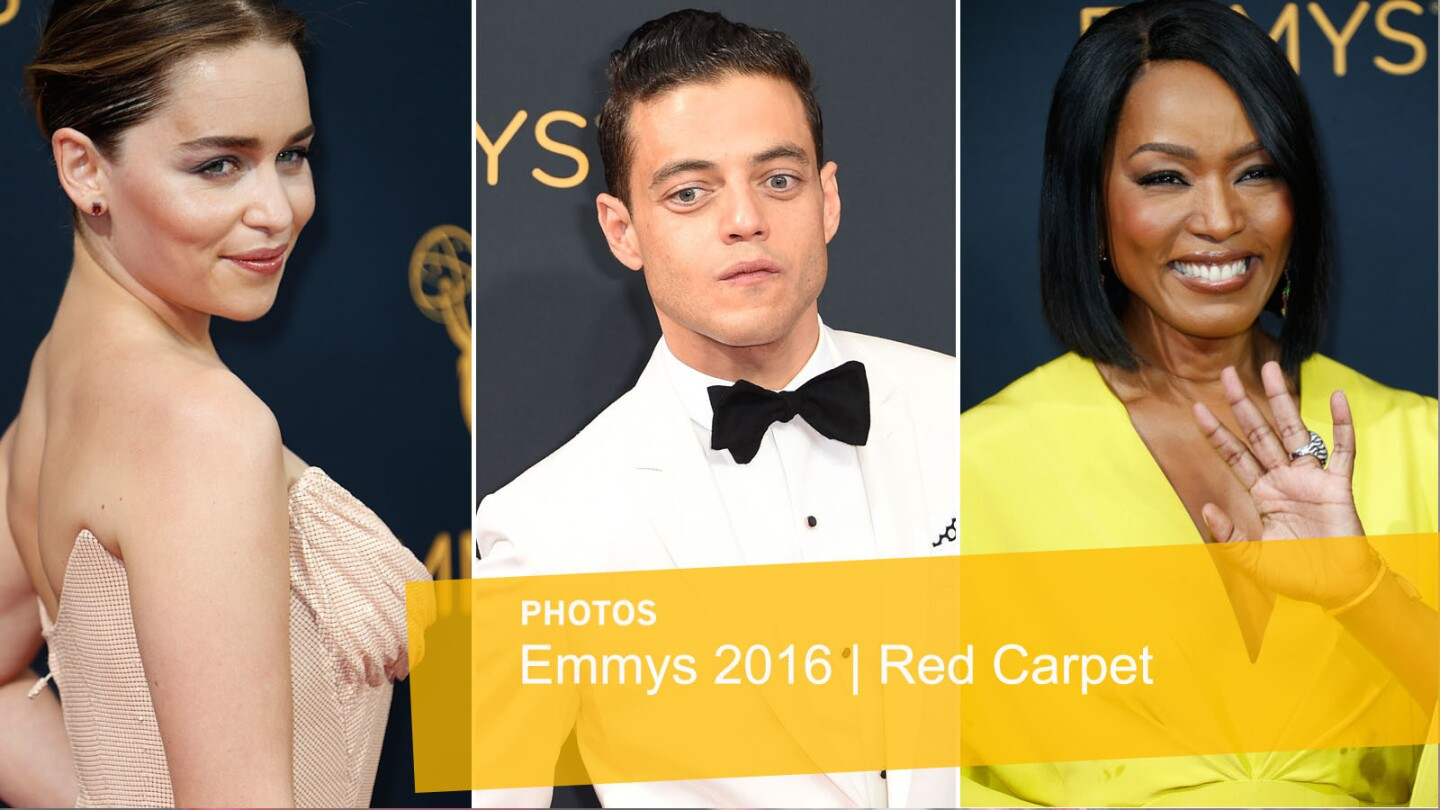 Emilia Clarke, Rami Malek and Angela Bassett arriving at the 68th Primetime Emmy Awards at the Microsoft Theater in Los Angeles.