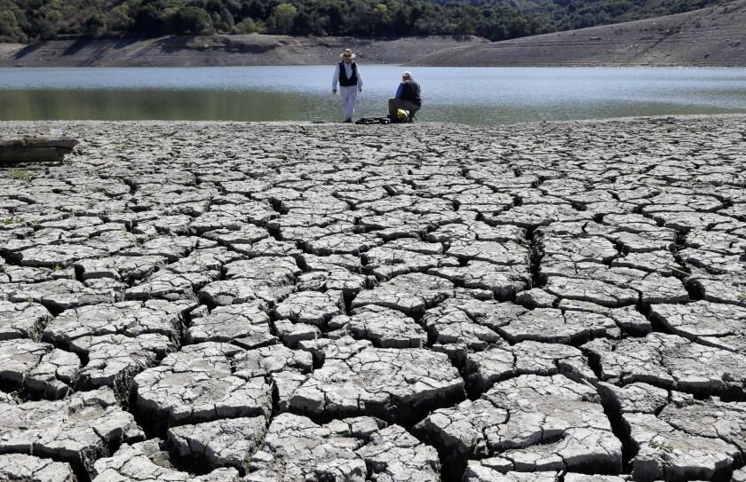 Gov. Jerry Brown ordered on Friday new steps to combat drought conditions across California. This photo shows cracks in the dry bed of the Stevens Creek Reservoir in Cupertino in March.