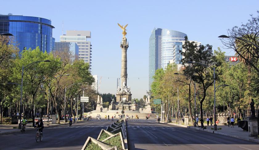 El Ángel de la Independencia, en la histórica avenida Paseo de la Reforma.