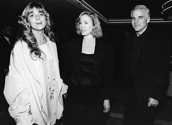 """Natasha Richardson, far left, with actress Victoria Tennant and Tennant's then-husband Steve Martin after the premiere of """"The Handmaid's Tale"""" (1990), in which Richardson starred, in Century City. Richardson became ill after falling while skiing in Montreal on Monday."""