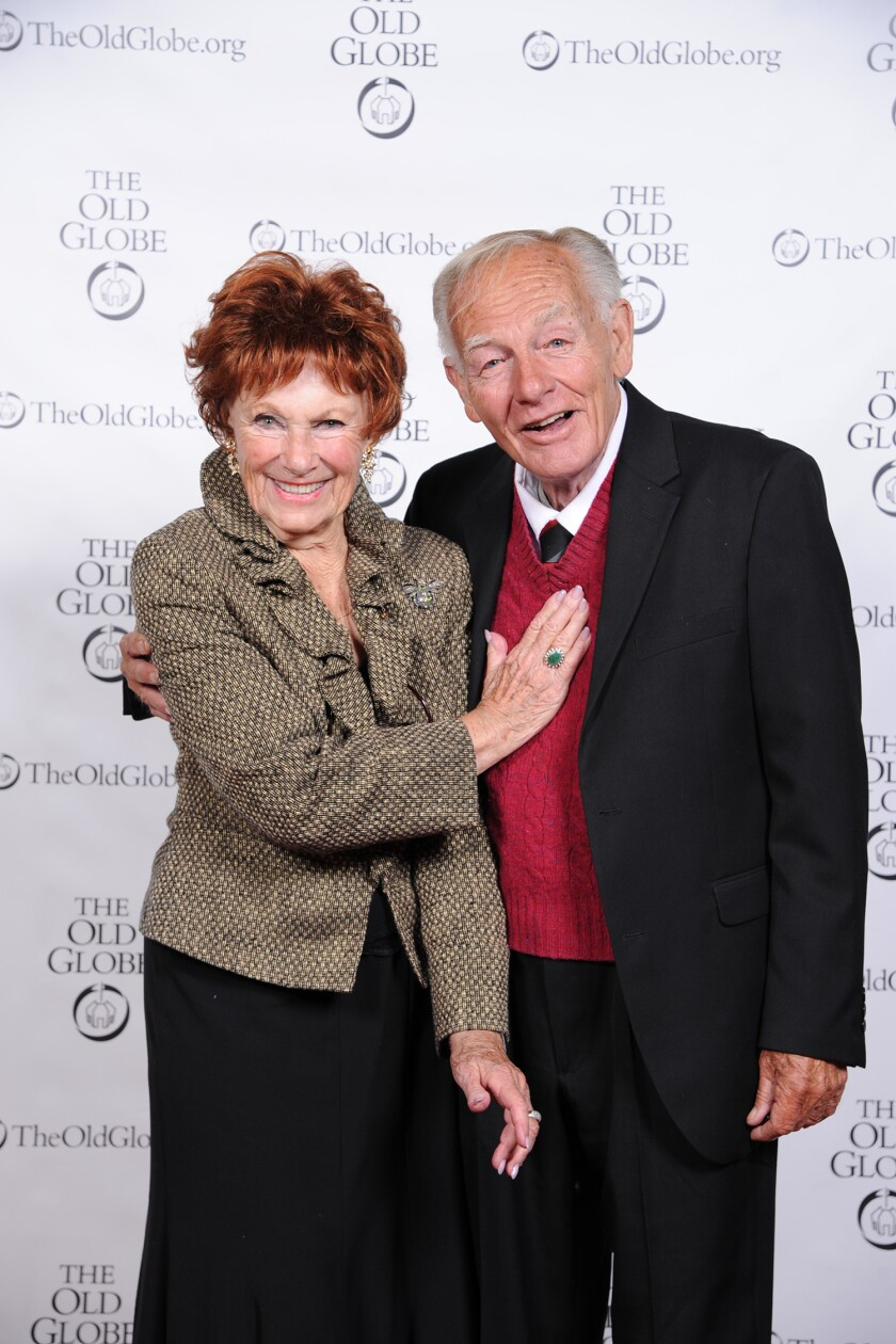 """Jonathan McMurtry with fellow Old Globe associate artist Marion Ross, at the theater's """"Shakespeare in America"""" celebration in 2016."""