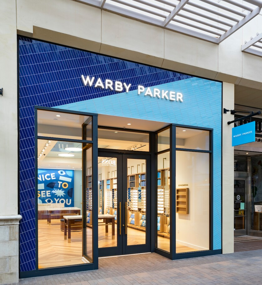 Storefront of the new Warby Parker store in Fashion Valley mall.
