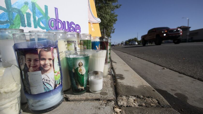 LANCASTER, CALIF. -- FRIDAY, JUNE 29, 2018: A memorial shrine for murdered 10-year-old Anthony Ava
