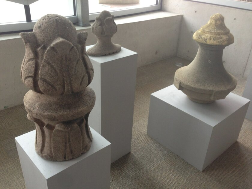 Original decorative features, recreated in a recent restoration at the San Diego Museum of Art, are on display at the Central Library as part of his exhibits on Balboa Park, its fairs and preservation efforts.