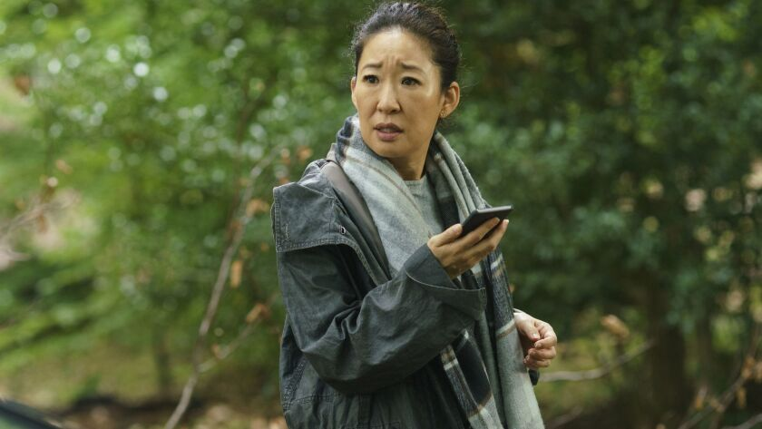 """This image released by BBC America shows Sandra Oh in a scene from """"Killing Eve."""" Oh was nominated T"""