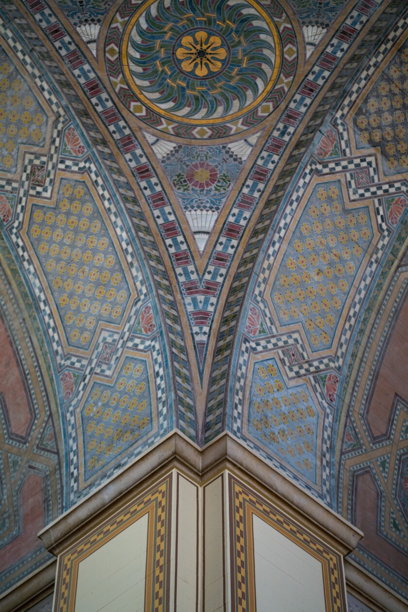 LOS ANGELES, CALIF. - APRIL 23: The high ceilings of The Central Library's Rotunda showcase decorati