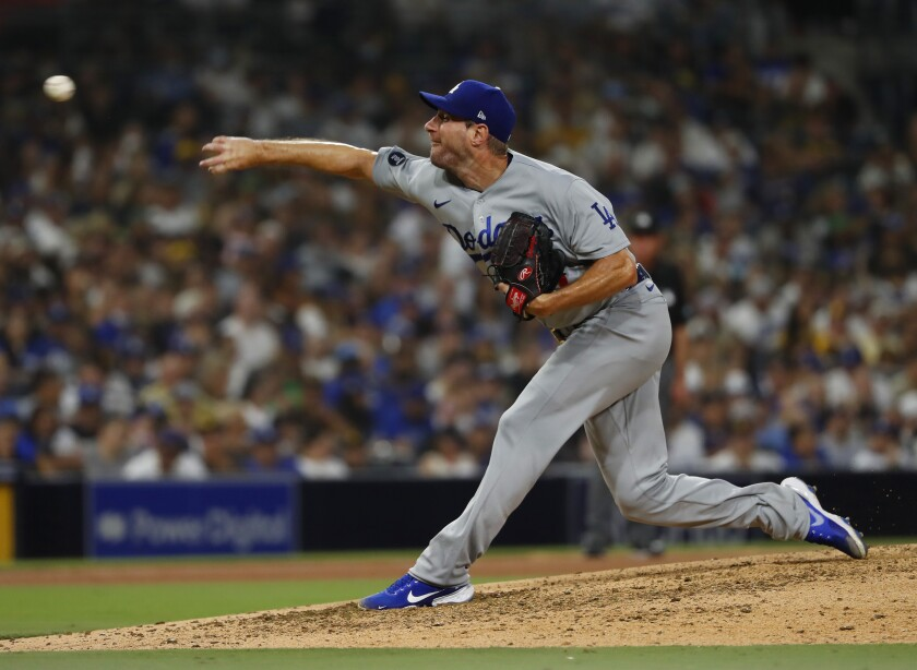 Dodgers starting pitcher Max Scherzer delivers against the San Diego Padres at Petco Park.