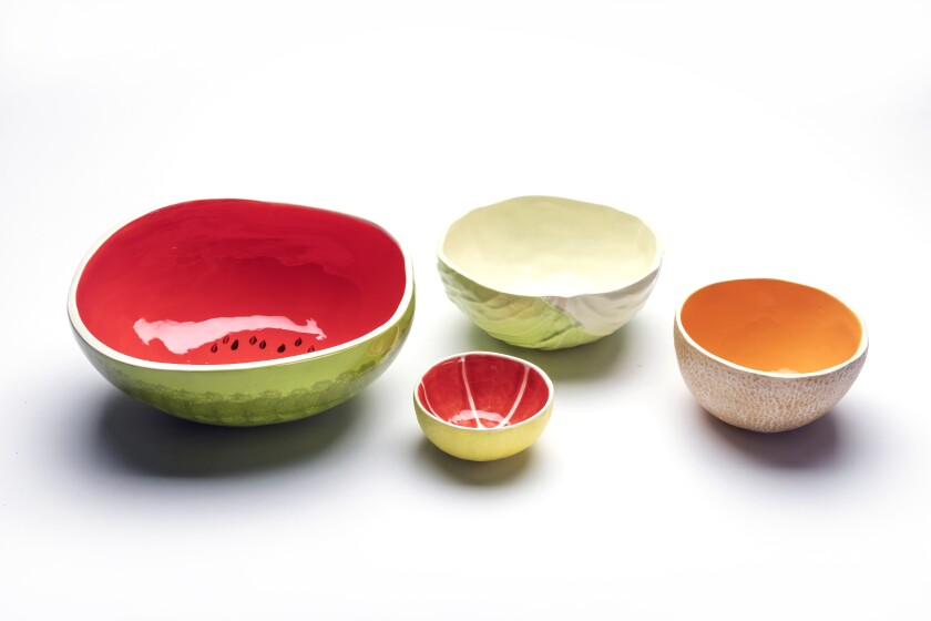 Shown are bowls from Susan Weiner Ceramics being sold on Etsy.
