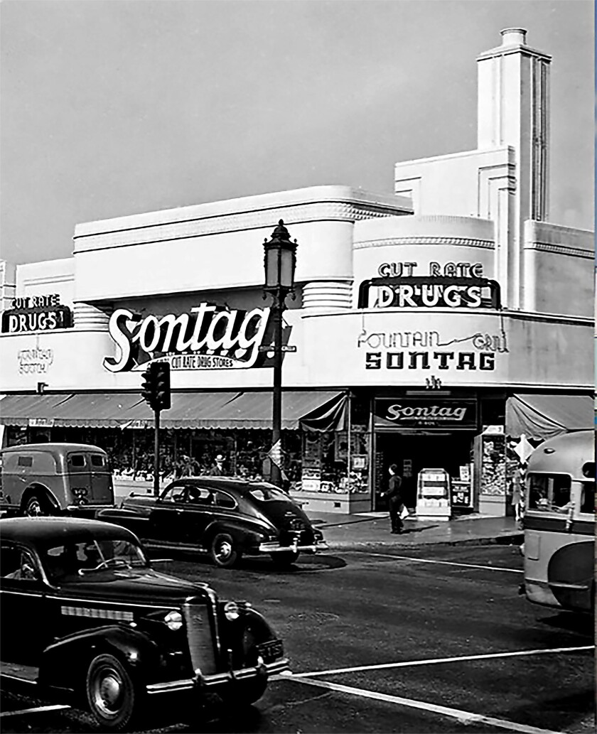 Sontag Drugs at Wilshire Boulevard and Coverdale Avenue in the late 1930s