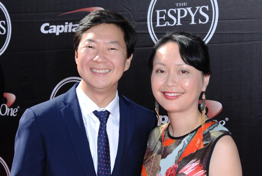 "Ken Jeong, left, and his wife, Dr. Tran Ho, at the ESPY Awards in L.A. last month. Jeong, a former physician, will star in ""Dr. Ken."""