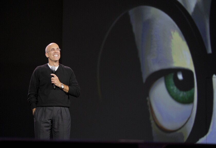 Dreamworks CEO Jeffrey Katzenberg talks about advancements in animation during the International Consumer Electronics Show, January 6, 2014, in Las Vegas.