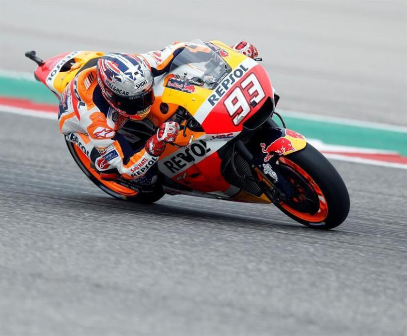 Repsol Honda Team MotoGP rider Marc Marquez of Spain in action during qualifying two at the Motorcycling Grand Prix of the Americas at Circuit of the Americas in Austin, Texas. EFE