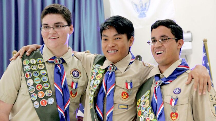 Boy Scouts Ryan Januzik, Kevin Tom and Alexander Soewers recently earned the Eagle rank with Troop 3