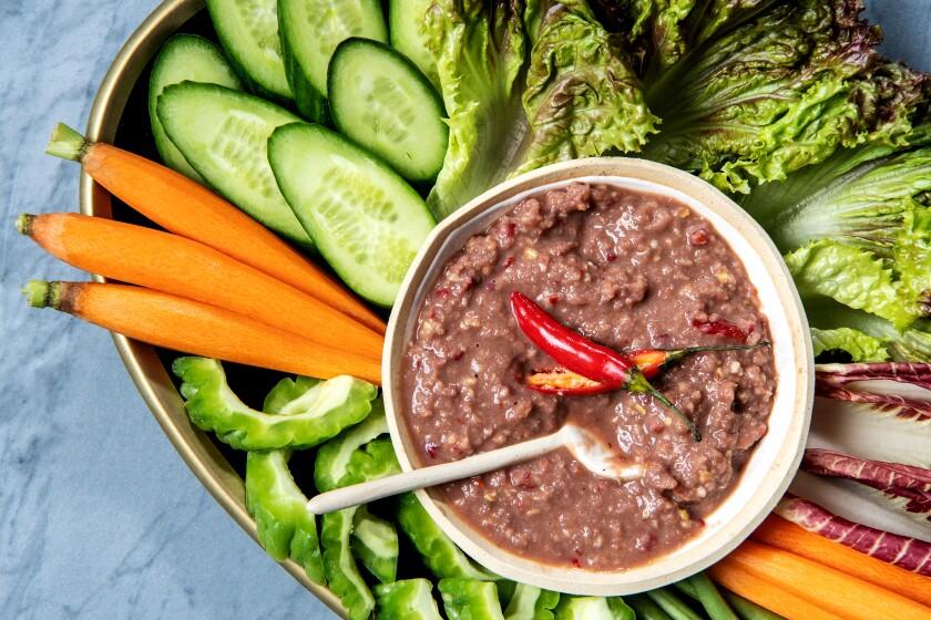 Nam prik goong dip with raw vegetables