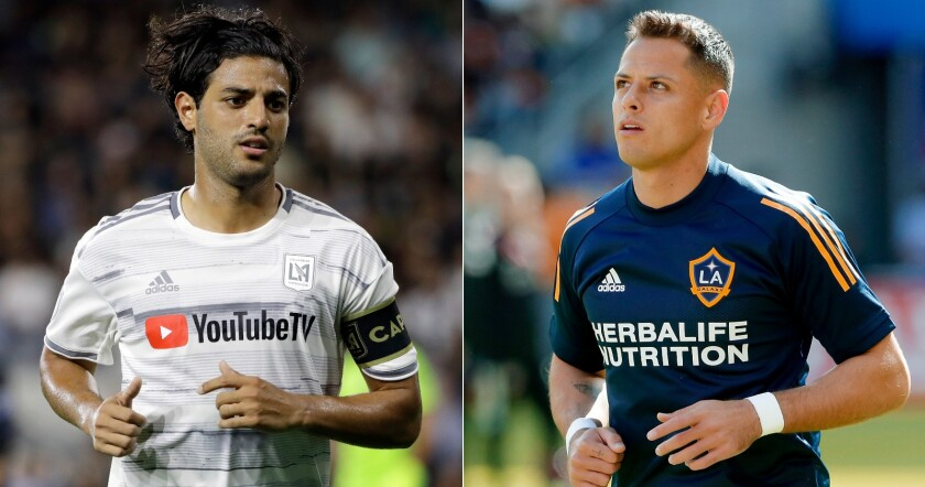 LAFC's Carlos Vela, left, and Galaxy's Javier 'Chicharito' Hernández