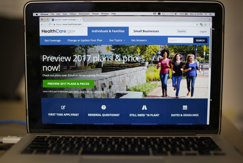 The HealthCare.gov 2017 website home page as seen in Washington on Monday.