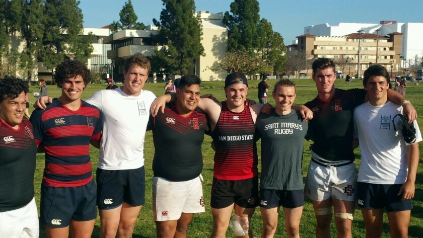 Left to right: Gil Covey (Cathedral / SDSU), Alec Barton (Cathedral, St. Mary's), Michael Tillson (Torrey Pines / St. Mary's), Johnny Abdulahad (Cathedral / SDSU), Chase Pickwell (Torrey Pines / SDSU), Brad Roberts (Canyon Crest Academy / St. Mary's), Jonathan Raby (Torrey Pines / SDSU), Alec Mill