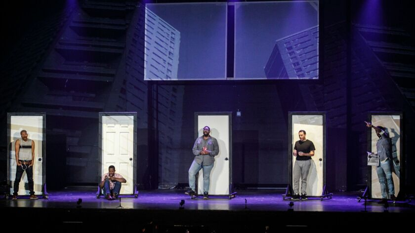 SAN PEDRO, CALIF. -- TUESDAY, JUNE 11, 2019: A rehearsal of 'Central Park Five,' inside the Warner