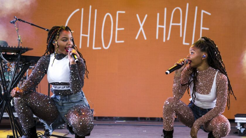 INDIO, CALIF. - APRIL 14: (L-R) Musicians Chloe Bailey and Halle Bailey of Chloe x Halle perform dur