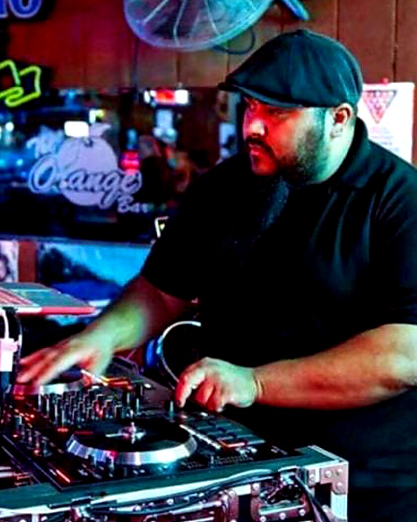 A man DJing
