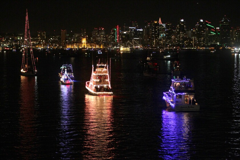 San Diego Bay Parade of Lights as seen from Tom's Lighthouse on Harbor Island.