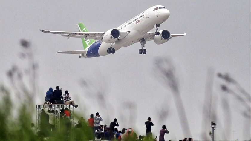 China's COMAC first test flight in Shanghai
