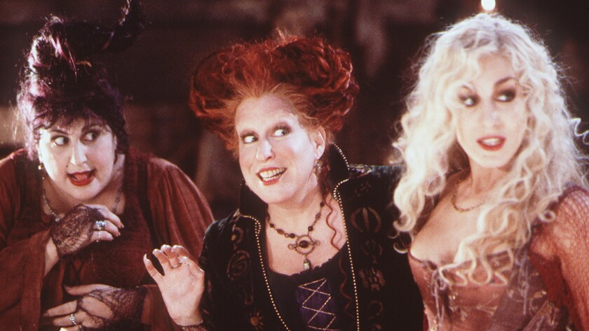 "Kathy Najimy, left, Bette Midler and Sarah Jessica Parker in the movie ""Hocus Pocus,"" which celebrates its 25th anniversary on Freeform"