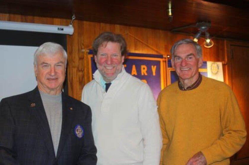 2014 Rotary president Gordon shurtleff, Timken Museum director John Wilson and Torrey Pines Rotary program manager Bill irwin.