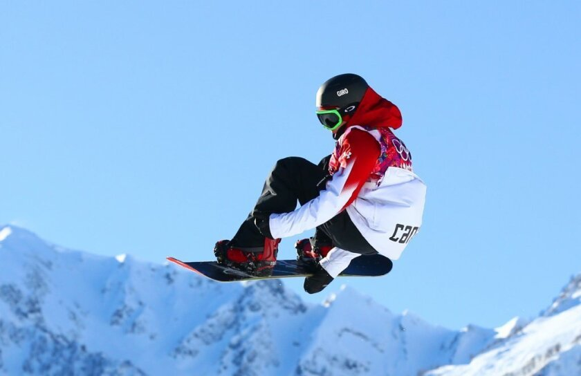 Sebastien Toutant competes in slopestyle qualifications at Sochi on Thursday.