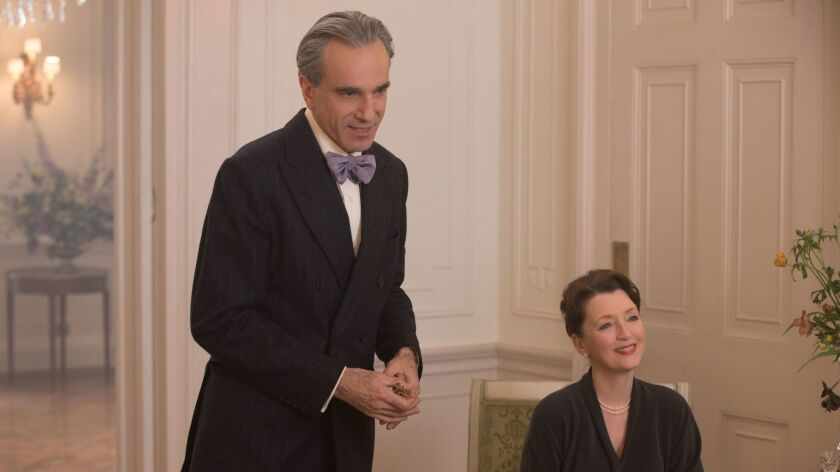 "(L-R) - Daniel Day-Lewis and Lesley Manville in a scene from the movie ""Phantom Thread."" Credit: Lau"