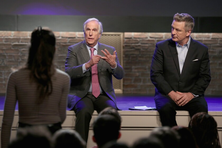 """Henry Winkler, left, and Alec Baldwin interact with an audience member during Ovation's """"Inside the Actors Studio."""""""