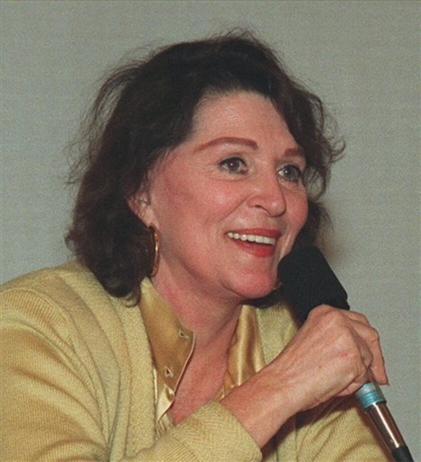 """In this Feb. 1994 file photo, Majel Barrett-Roddenberry speaks in San Francisco. Majel Barrett Roddenberry, the widow of """"Star Trek"""" creator Gene Roddenberry, died Thursday, Dec. 18, 2008 at her home in Bel-Air, Calif. She was 76. (AP Photo)"""