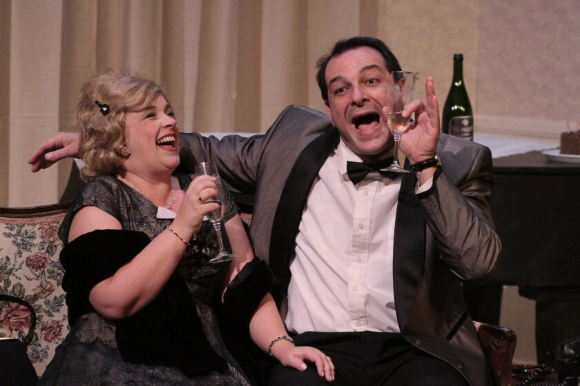 """Manny and Melissa Fernandes in New Village Arts Theatre's """"Same Time, Next Year."""""""