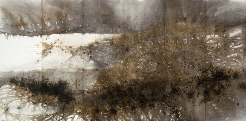 """""""Mountain Range"""" by Cai Guo-Qiang, 2006. Gunpowder on paper, mounted on wood as six-panel screen, 90-9/16 inches by 181-7/8 inches by 7/8 inch."""