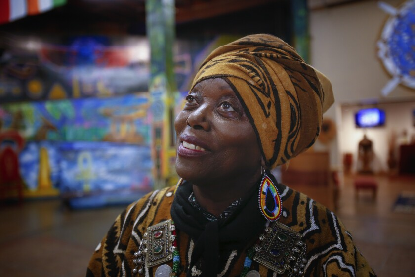 Makeda Cheatom, founder and director of the WorldBeat Cultural Center in Balboa Park, speaks about the negotiations with the city of San Diego to obtain a lease. Since 1989, WorldBeat Cultural Center has attracted an estimated 30,000 visitors annually.