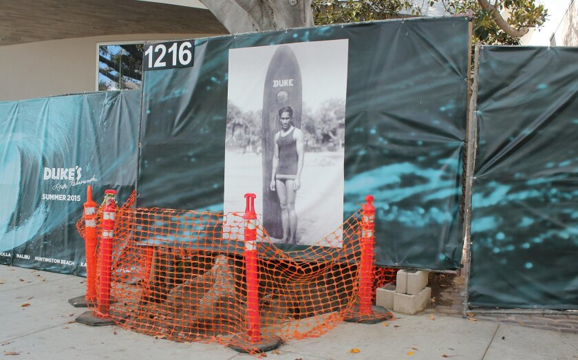 DPR members approved a 12-foot bronze statue of surf legend Duke Kahanamoku for the front of the forthcoming Duke's steakhouse on Prospect Street, formerly Top of the Cove. It will be located within a planter built on top of these cordoned-off tree roots.