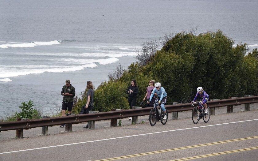 The Encinitas City Council decided to close down the pedestrian portion of Coast Highway from Swami's Beach to the Seaside Parking Lot, shown here on April 15, 2020.