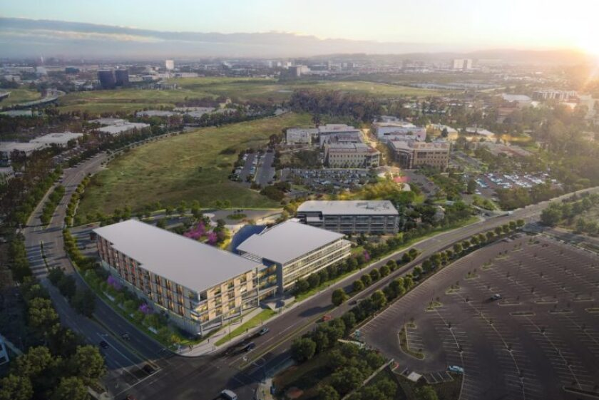 UC Irvine's planned 9-acre health sciences complex at the corner of Bison and California avenues.