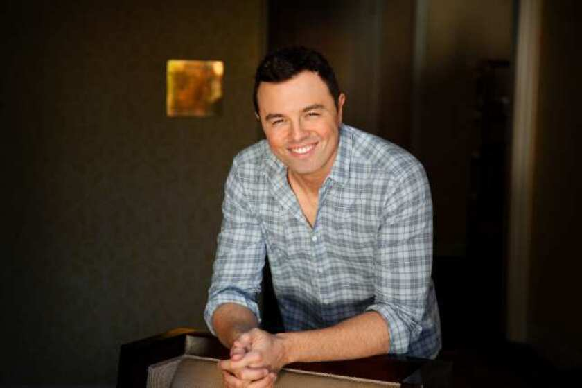 """Seth Macfarlane says he tried to come up with a voice for the teddy bear star of """"Ted"""" that would be different from the voice of Peter Griffin in """"Family Guy,"""" but concedes that they sound pretty similar."""