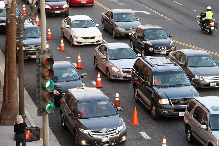 Traffic develops near Glendale Galleria, in this file photo taken on Friday, Nov. 27, 2015.